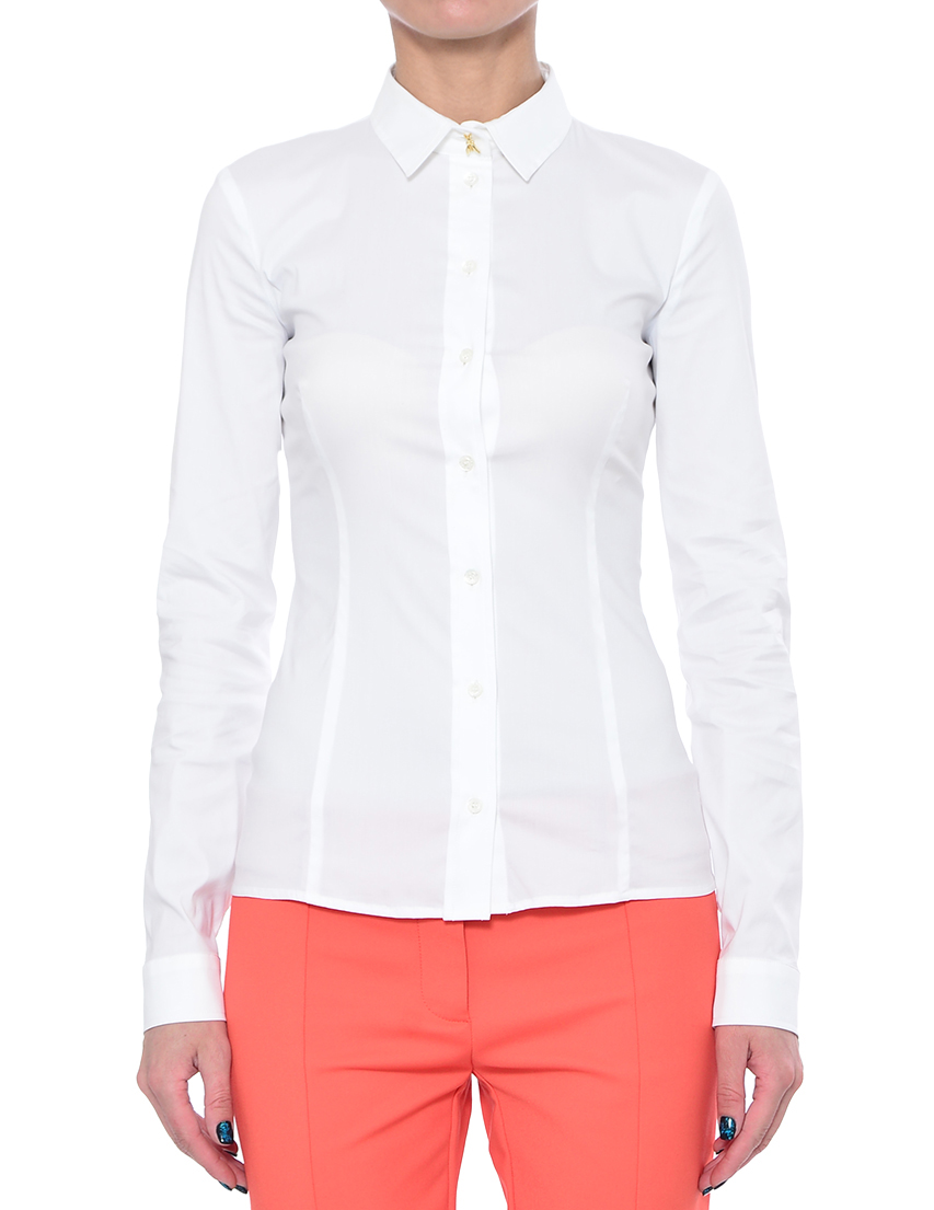 Купить Рубашка, PATRIZIA PEPE, Белый, 67%Хлопок 27%Полиамид 6%Эластан, Весна-Лето