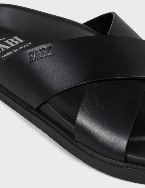мужские черные кожаные Шлепанцы Fabi FU9434A - фото-5