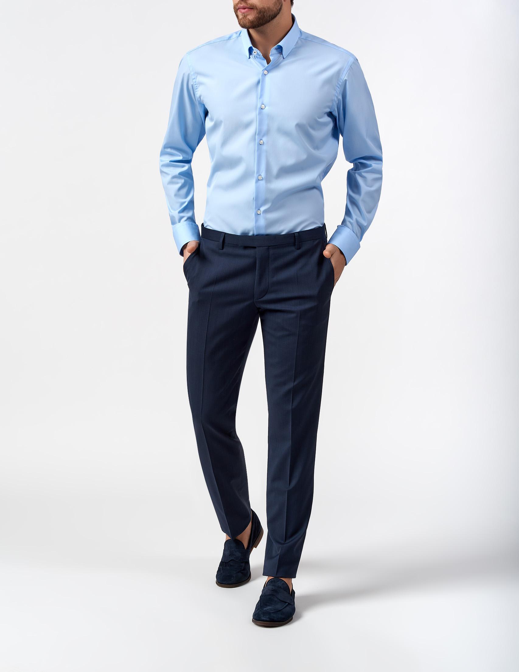 какую рубашку подобрать к синим брюкам фото нашем