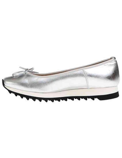женские серебряные кожаные Балетки John Galliano 7906_silver - фото-5
