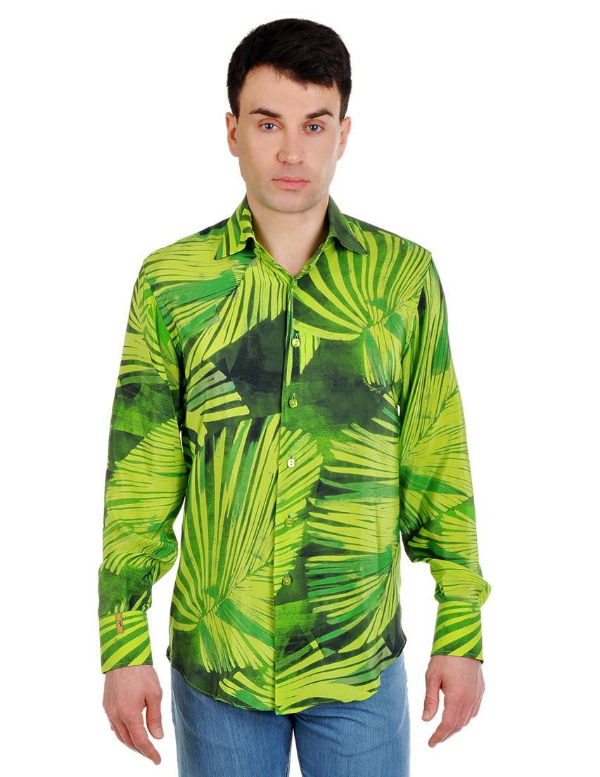 Купить Рубашка, BILLIONAIRE ITALIAN COUTURE, Зеленый, 100%Шелк, Весна-Лето