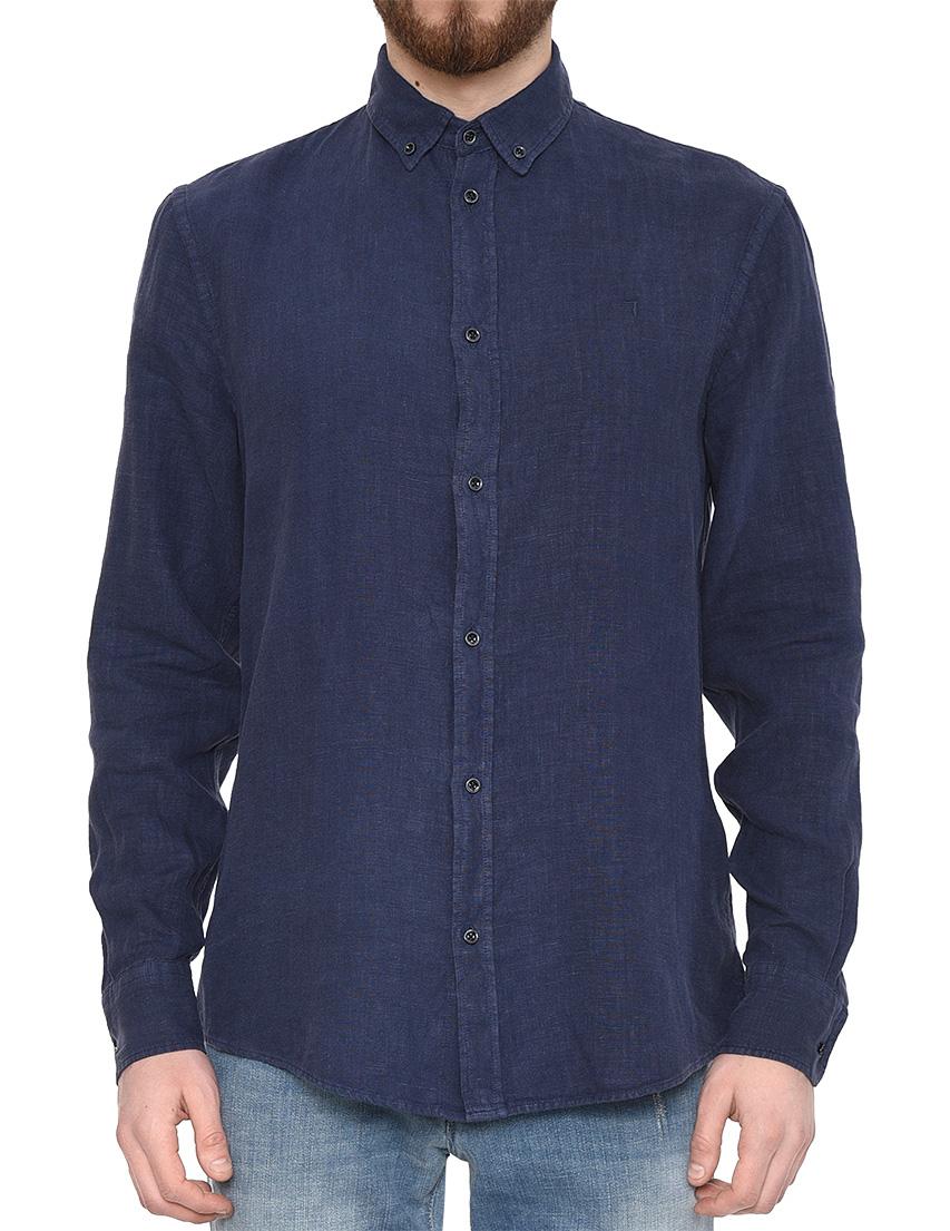Купить Рубашки, Рубашка, TRUSSARDI JEANS, Синий, 100%Лен, Весна-Лето