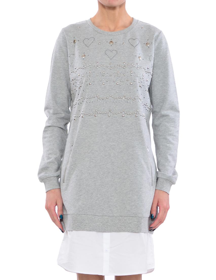 Купить Платье, TWIN-SET, Серый, 100%Хлопок, Весна-Лето