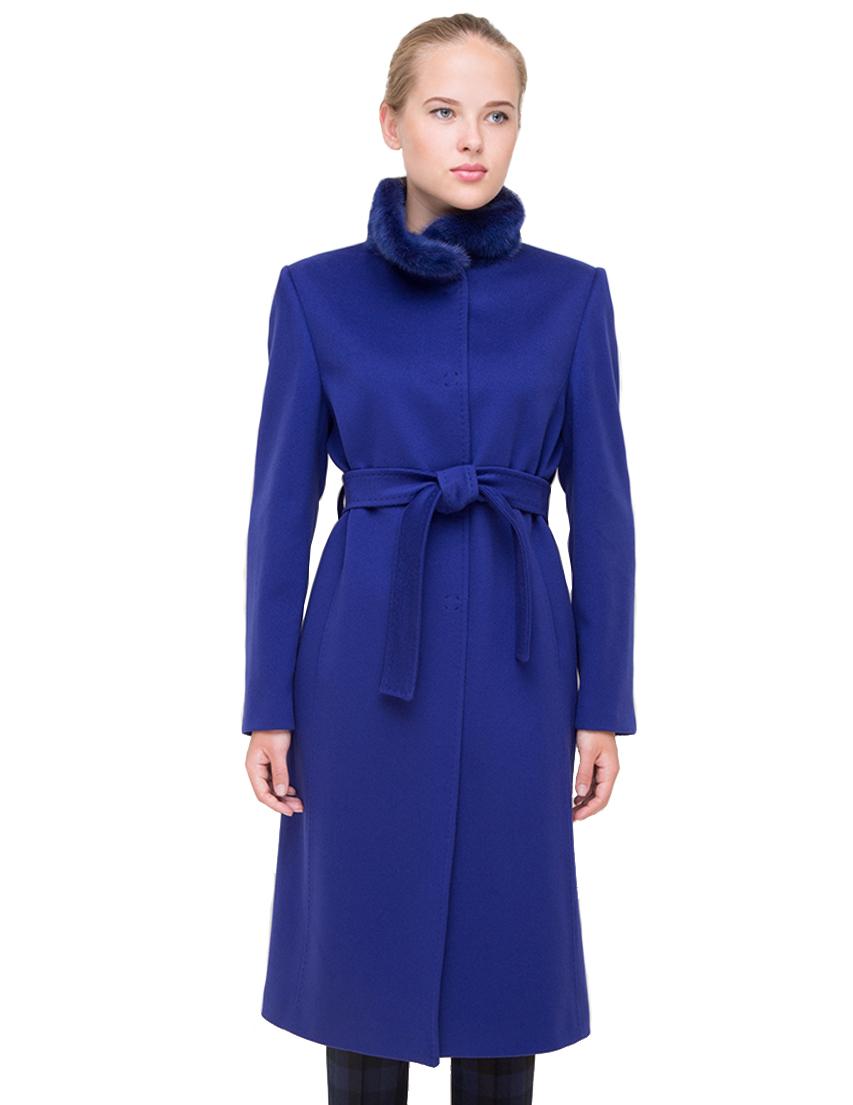 Купить Пальто, HERESIS, Синий, 100%Шерсть; подкладка 100%Вискоза; мех-норка, Осень-Зима