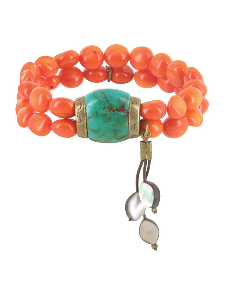 Купить Браслет, NATURE BIJOUX, Оранжевый, Вощеный шнурок, морская раковина, антиаллергенный сплав, Осень-Зима