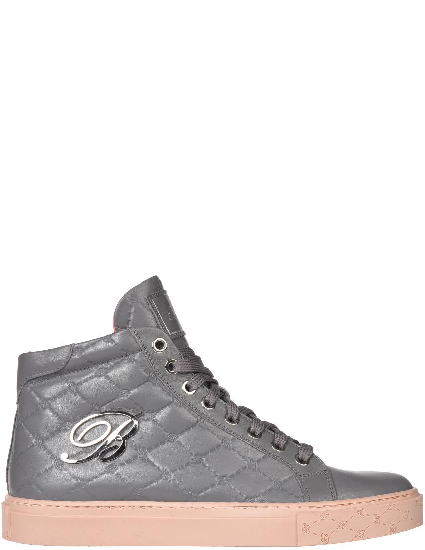 Женские кеды Blumarine 5315-К-grey-logo_gray