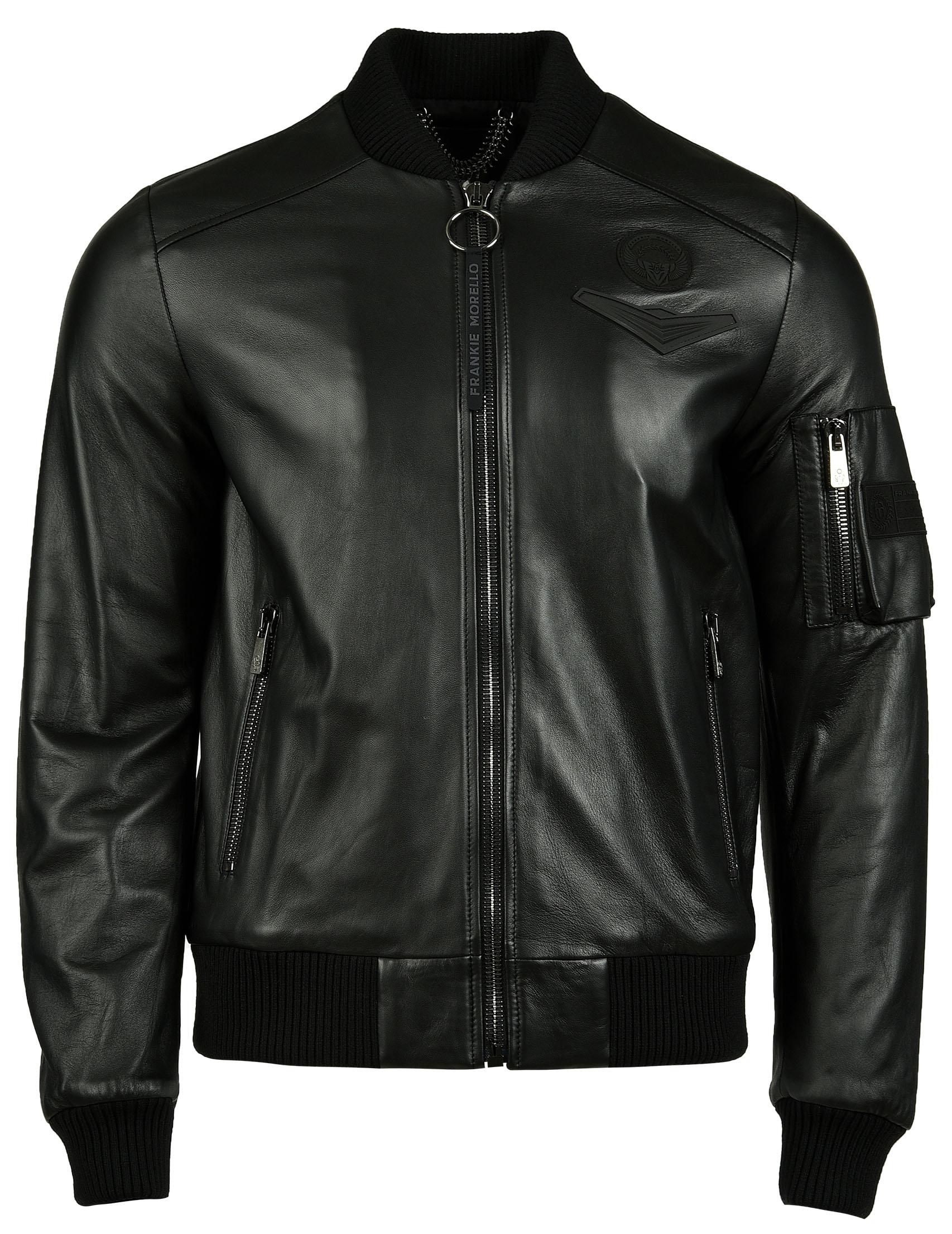 Купить Куртка, FRANKIE MORELLO, Черный, 100%Кожа;50%Шерсть 50%Акрил, Осень-Зима