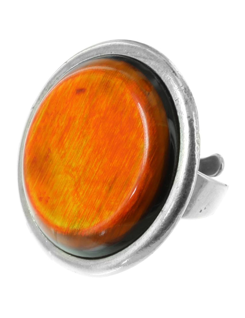 Купить Кольцо, NATURE BIJOUX, Оранжевый, Вулканическая лава, рог, антиаллергенный сплав, Осень-Зима