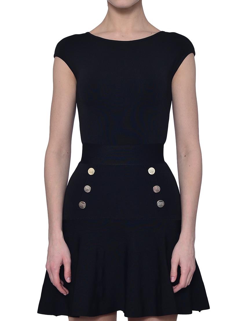 Купить Платье, ELISABETTA FRANCHI, Черный, 80%Вискоза 18%Полиамид 2%Эластан, Весна-Лето