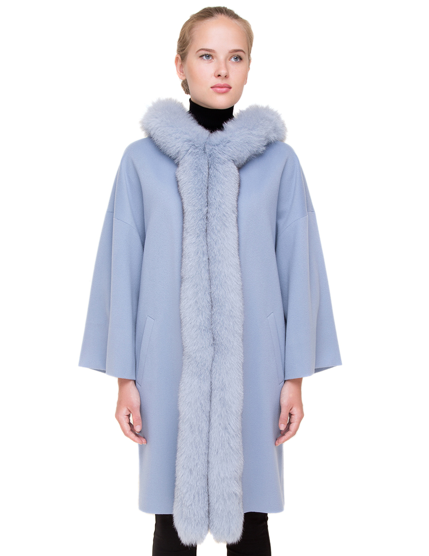 Купить Пальто, HERESIS, Серый, 100%Шерсть; подкладка 100%Вискоза; мех-лиса, Осень-Зима