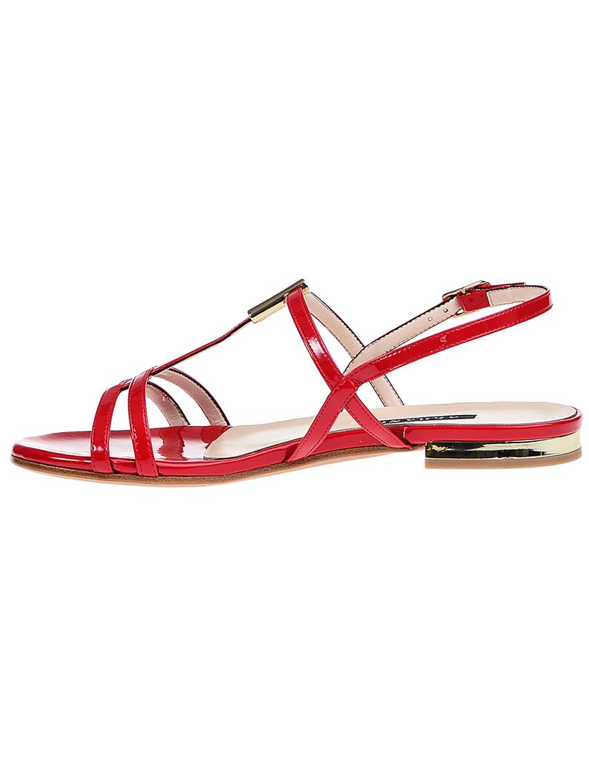 Фото 3 - женские сандали  красного цвета