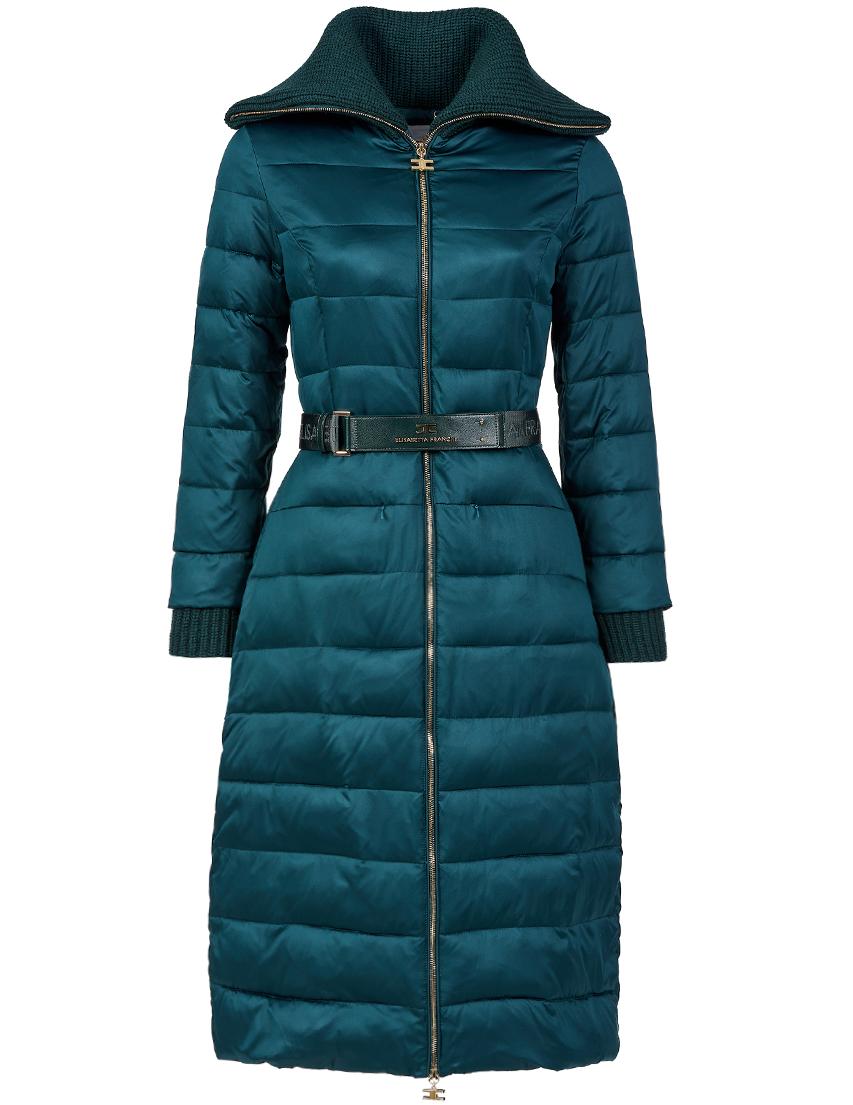 Купить Пальто, ELISABETTA FRANCHI, Зеленый, 100%Полиэстер, Осень-Зима