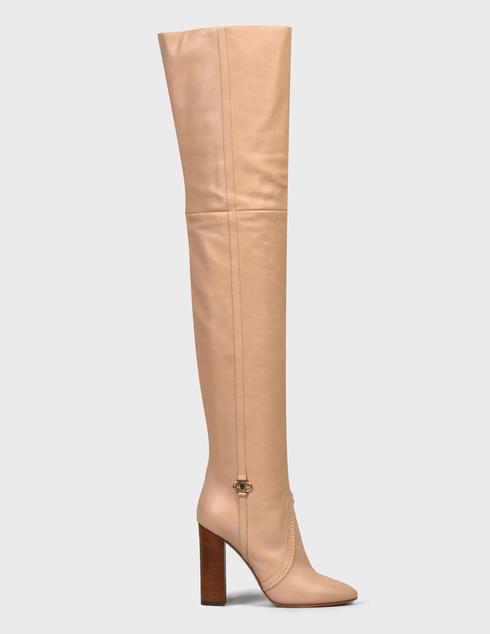 женские бежевые кожаные Ботфорты Elisabetta Franchi SA-37T-16E2-V690-043 - фото-5