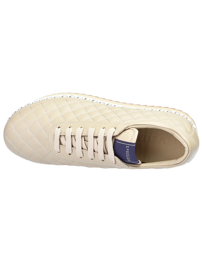 Кожаные бежевые кроссовки LE SILLA (ITALY)