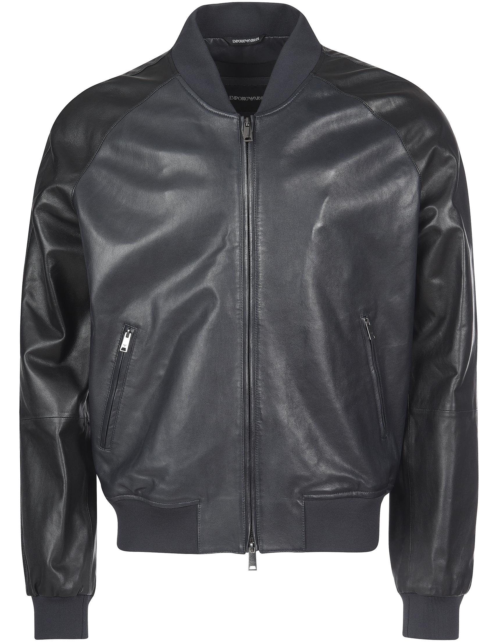 Купить Куртка, EMPORIO ARMANI, Черный, 100%Кожа;100%Полиэстер;96%Полиэстер 4%Эластан, Осень-Зима