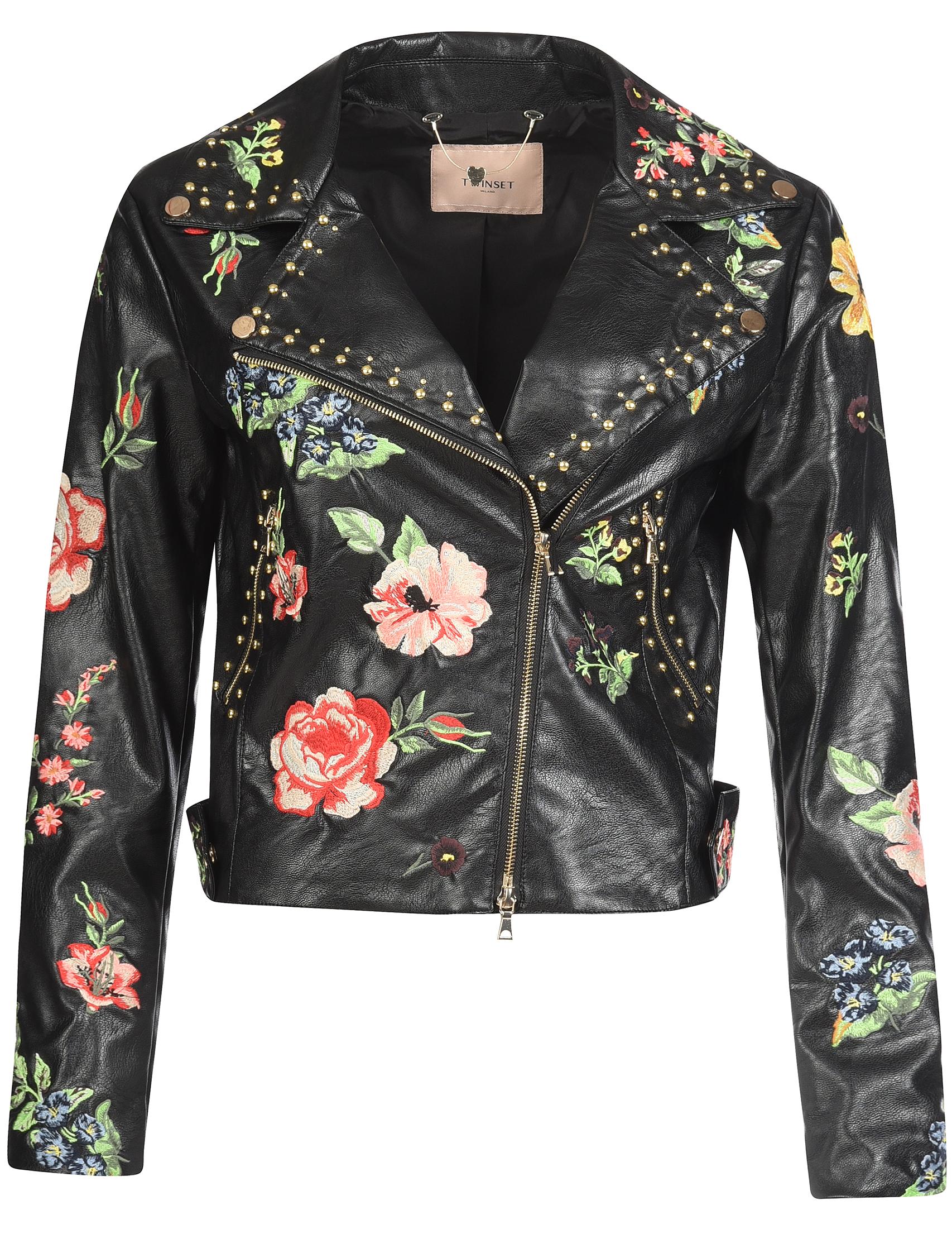 Купить Куртка, TWIN-SET, Черный, 100%Полиуретан;85%Вискоза 15%Полиэстер, Осень-Зима