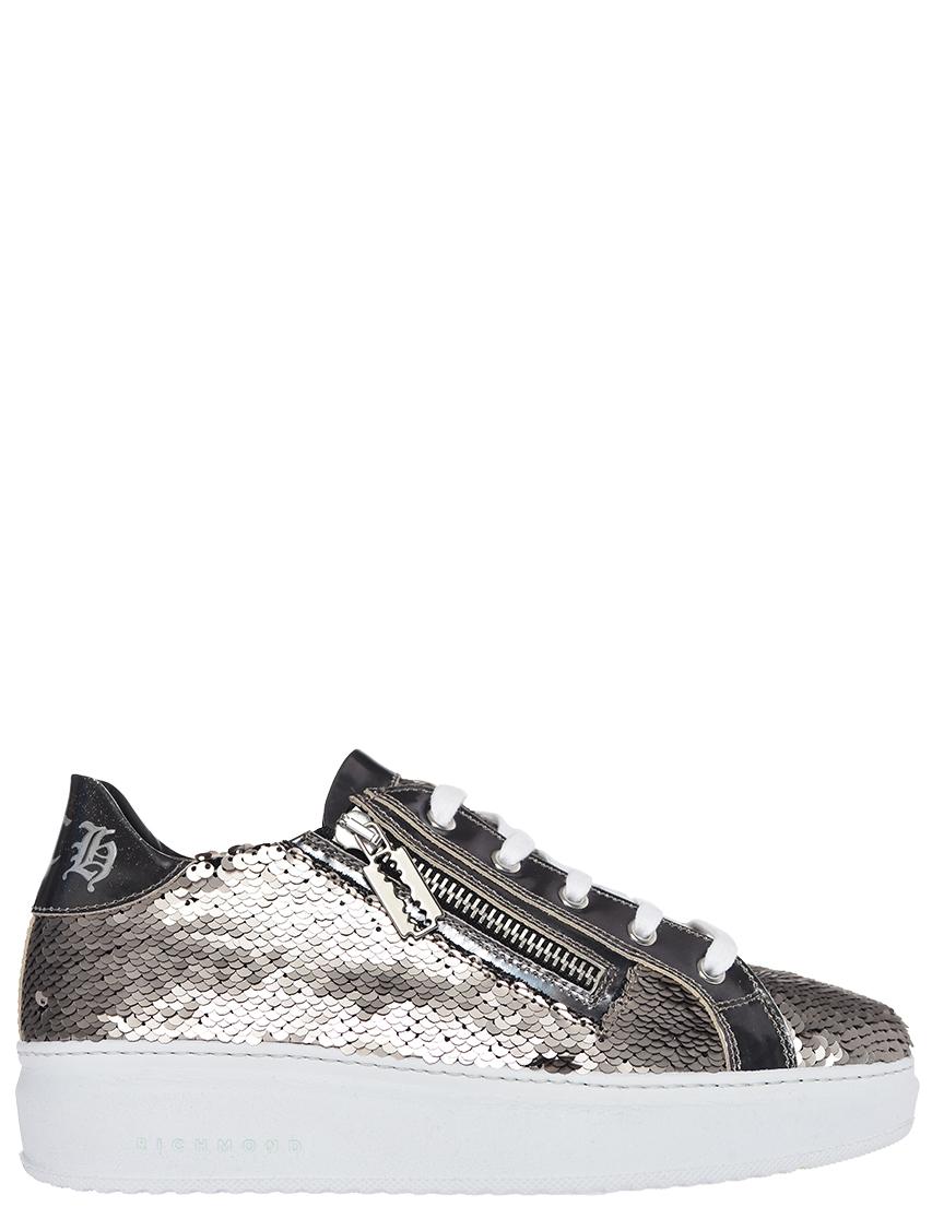 Кроссовки кожаные серебряные RICHMOND (ITALY)
