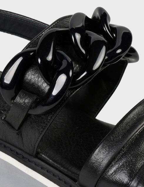 женские черные кожаные Босоножки Pertini 201W16870D1 - фото-5