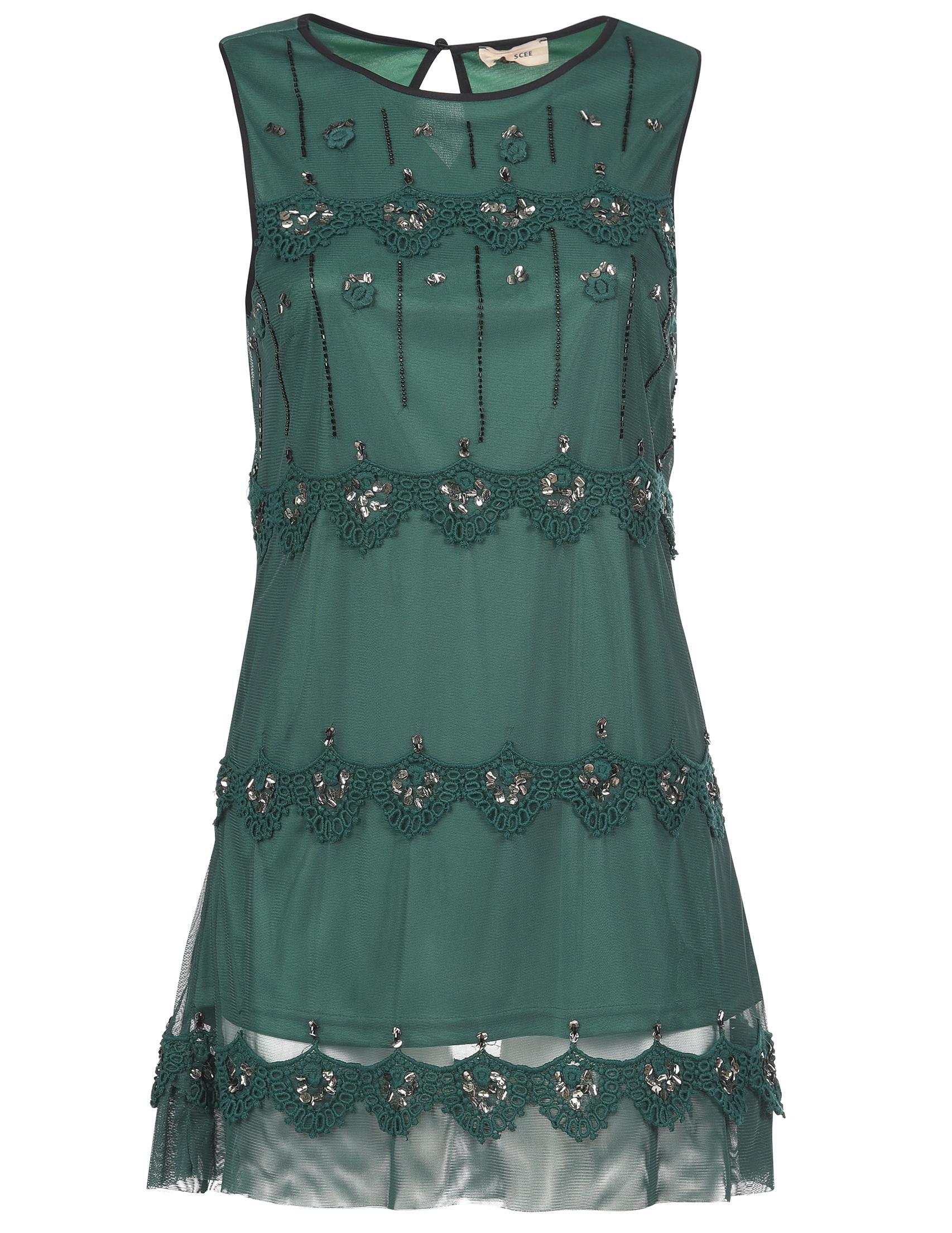 Платье, TWIN-SET, Зеленый, 100%Полиэстер;100%Хлопок, Осень-Зима  - купить со скидкой