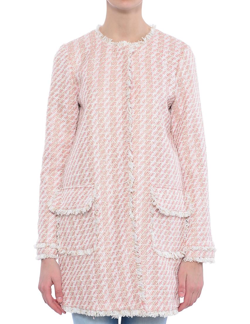 Купить Пальто, TWIN-SET, Розовый, 100%Полиэстер;100%Хлопок, Весна-Лето