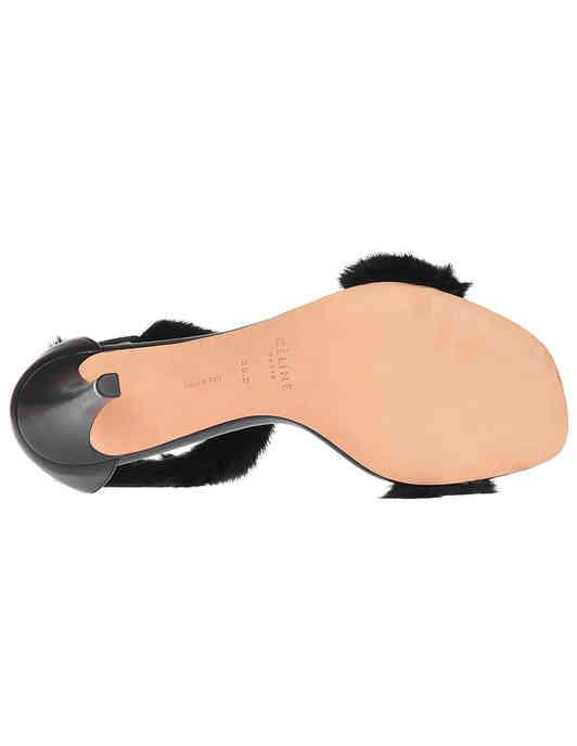 женские черные кожаные Босоножки Celine 314544HISC38NO-18_black - фото-5