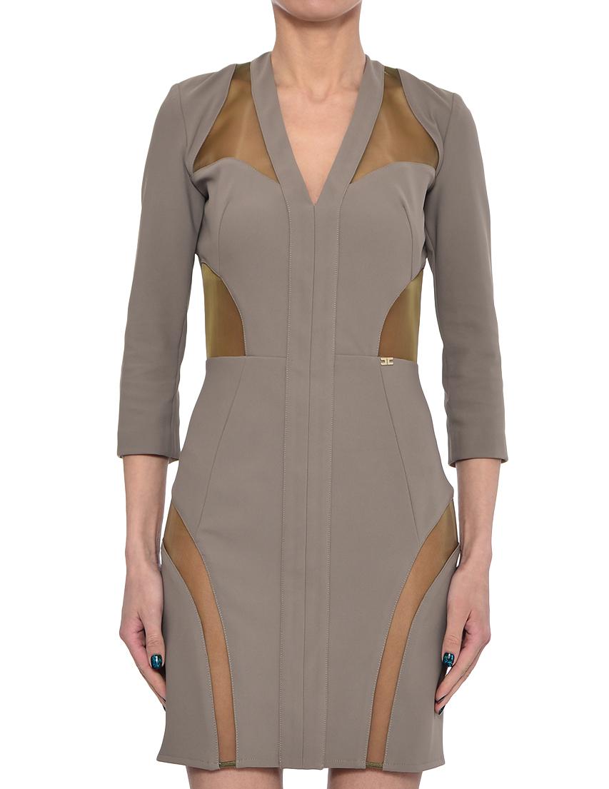 Купить Платье, ELISABETTA FRANCHI, Зеленый, 88%Полиамид 12%Эластан, Весна-Лето