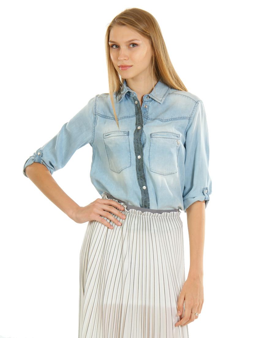 Купить Рубашки, PATRIZIA PEPE, Голубой, 100%Лиоцелл, Весна-Лето