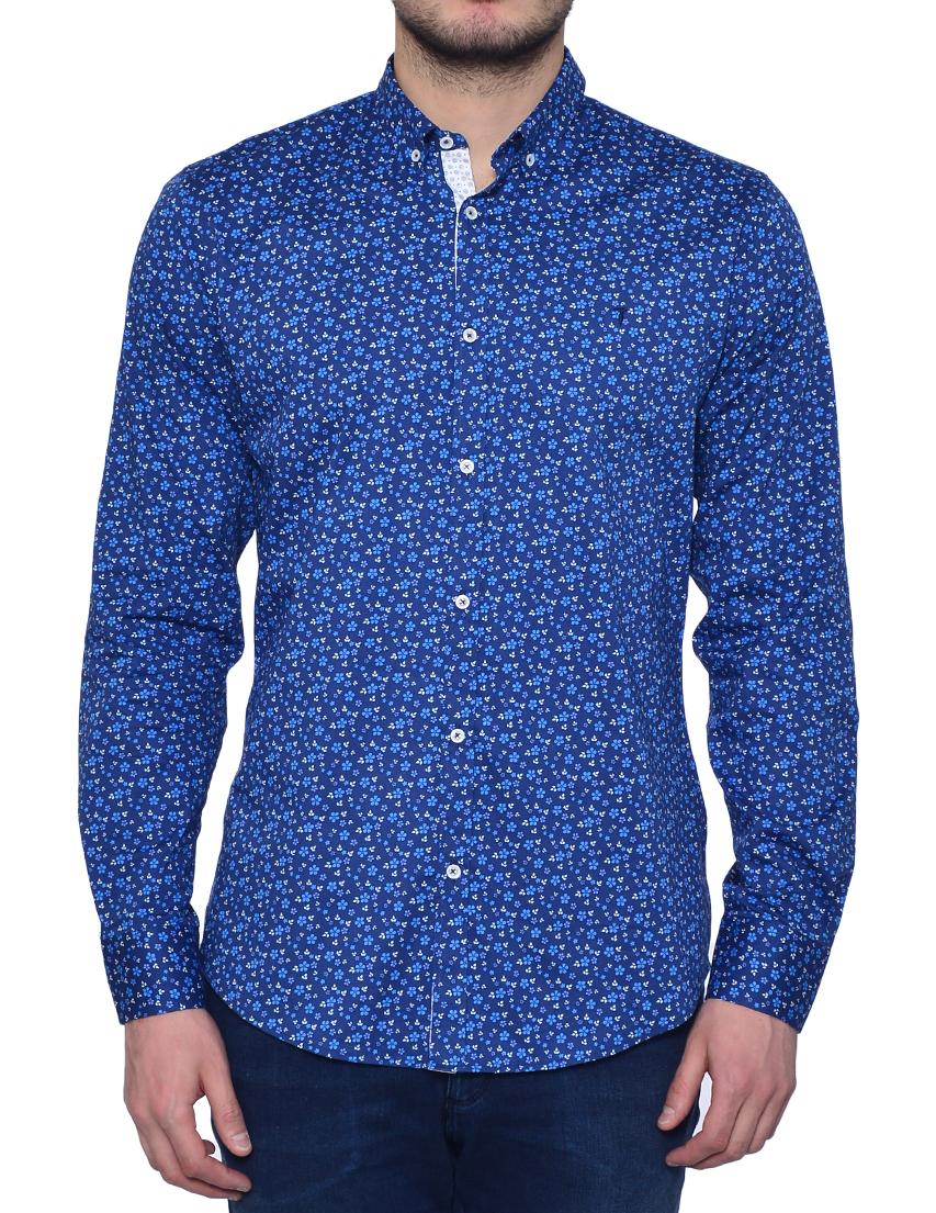 Купить Рубашки, Рубашка, TRUSSARDI JEANS, Синий, 97%Хлопок 3%Эластан, Весна-Лето