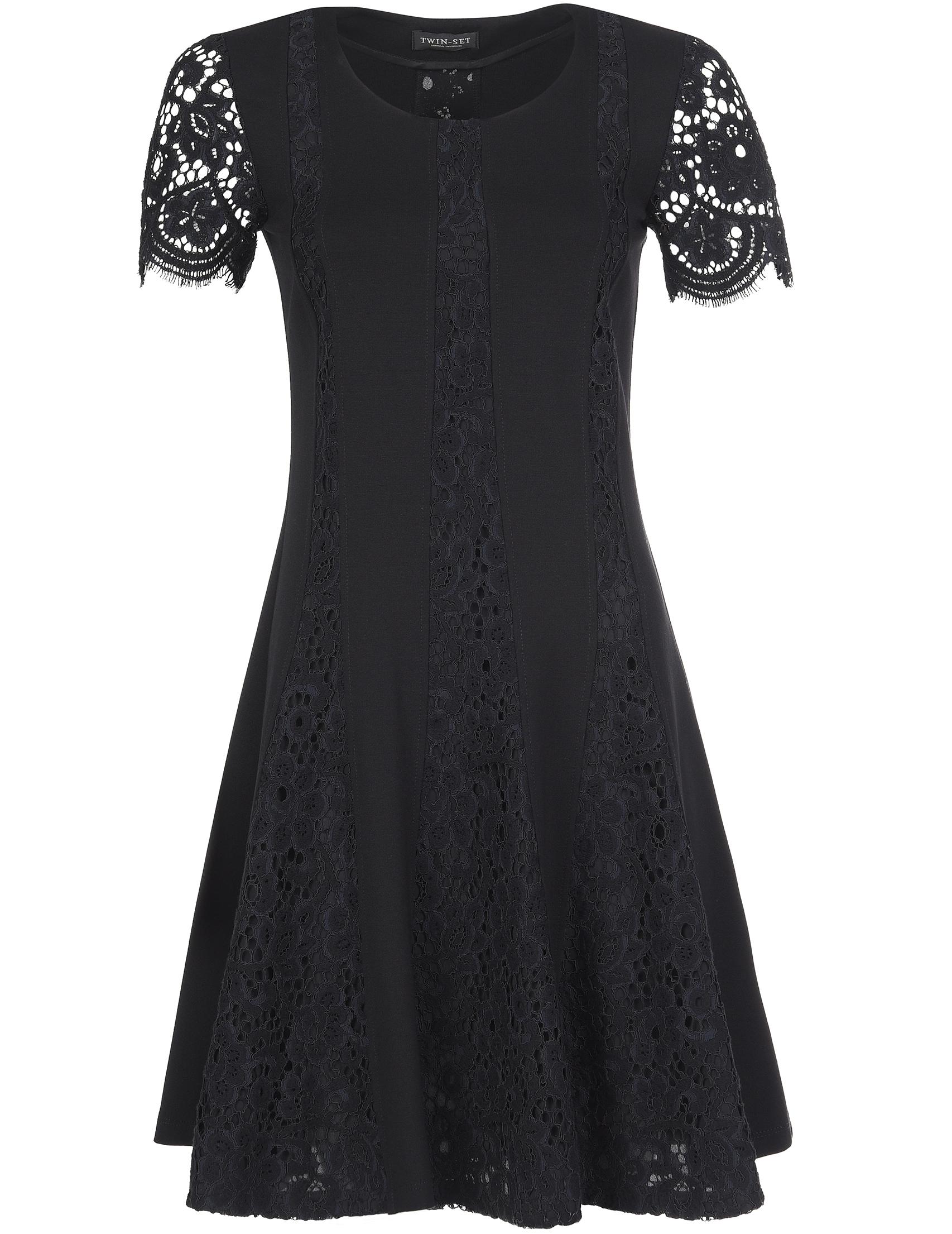 Купить Платье, TWIN-SET, Черный, 62%Вискоза 31%Полиамид 7%Эластан;56%Хлопок 30%Полиамид 14%Вискоза, Осень-Зима