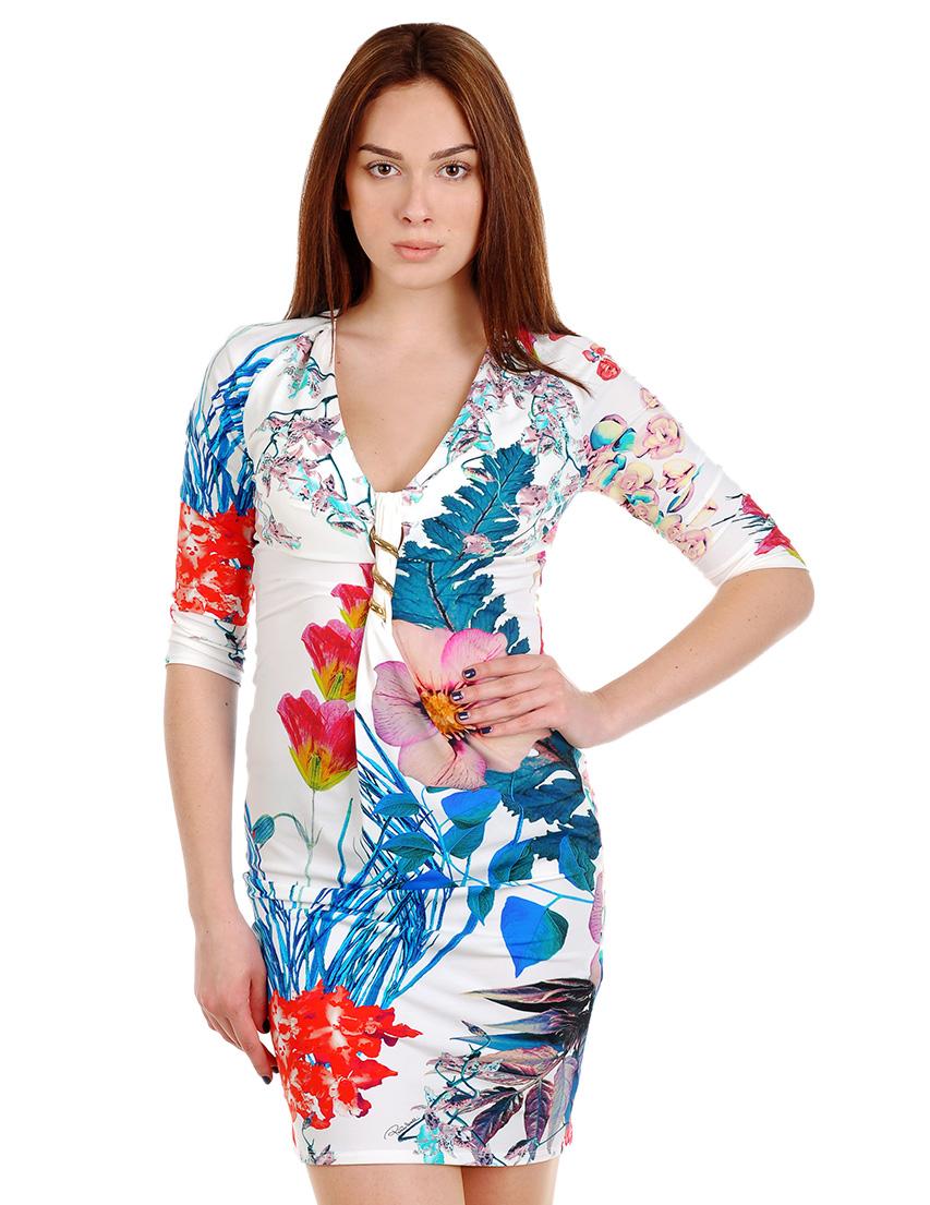 Купить Платье, ROBERTO CAVALLI, Многоцветный, 88%Полиамид 12%Эластан, Весна-Лето