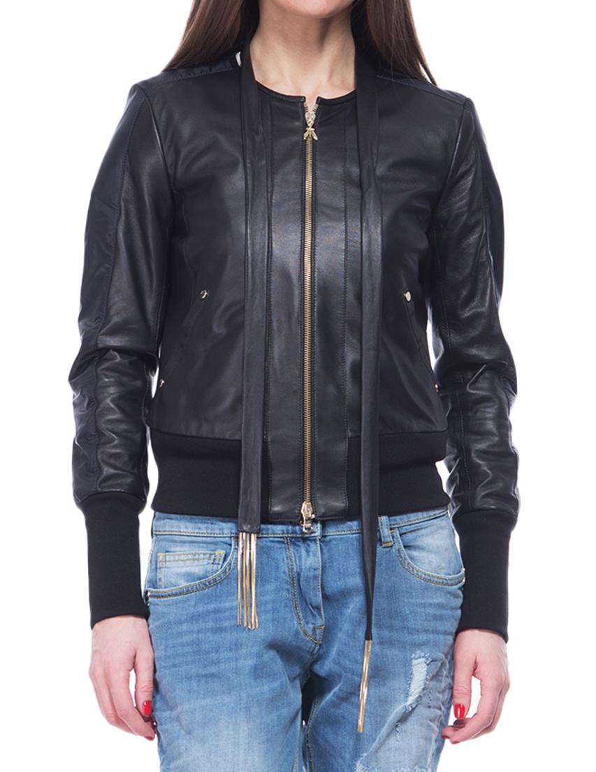 Купить Куртки, Куртка, PATRIZIA PEPE, Черный, 100%Кожа, Весна-Лето
