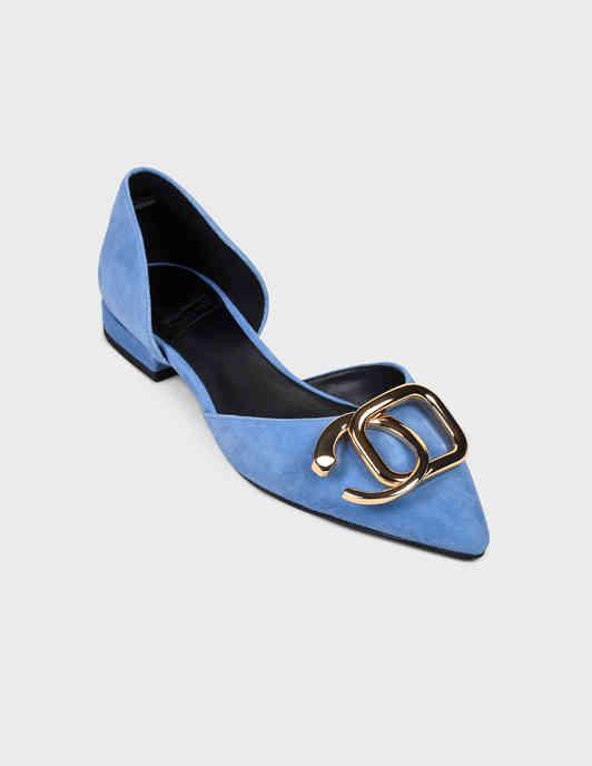 женские голубые Балетки What For PS20WF040 - фото-2