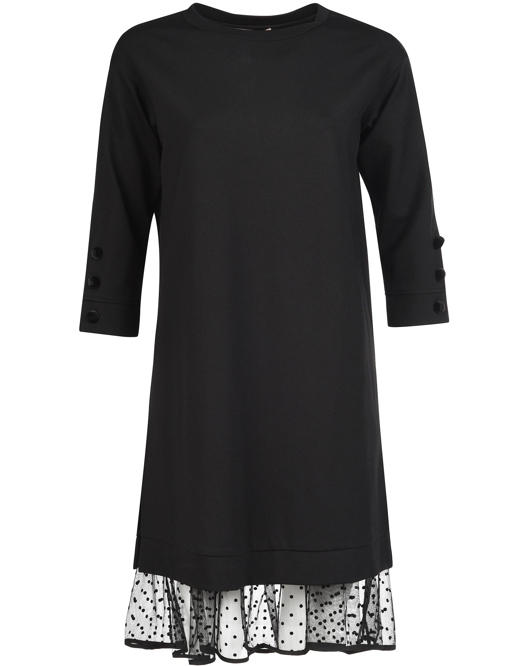 Купить Платье, TWIN-SET, Черный, 62%Вискоза 33%Полиамид 5%Эластан, Осень-Зима
