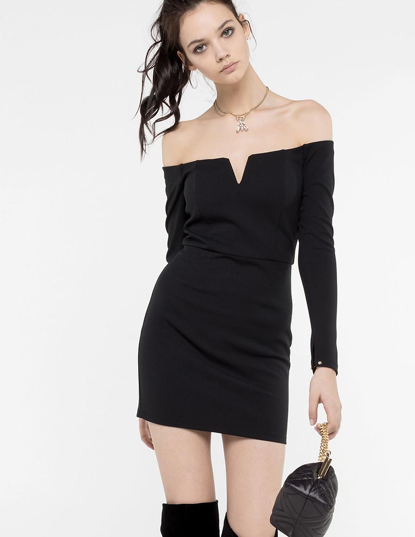 Купить Платье, PATRIZIA PEPE, Черный, 94%Полиэстер 6%Эластан;70%Ацетат 30%Полиэстер, Осень-Зима