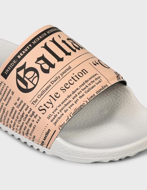 женские бежевые резиновые Шлепанцы John Galliano 11172A - фото-5