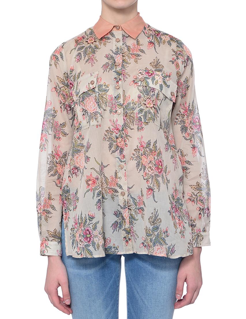 Купить Рубашка, TWIN-SET, Многоцветный, 72%Хлопок 28%Шелк, Весна-Лето
