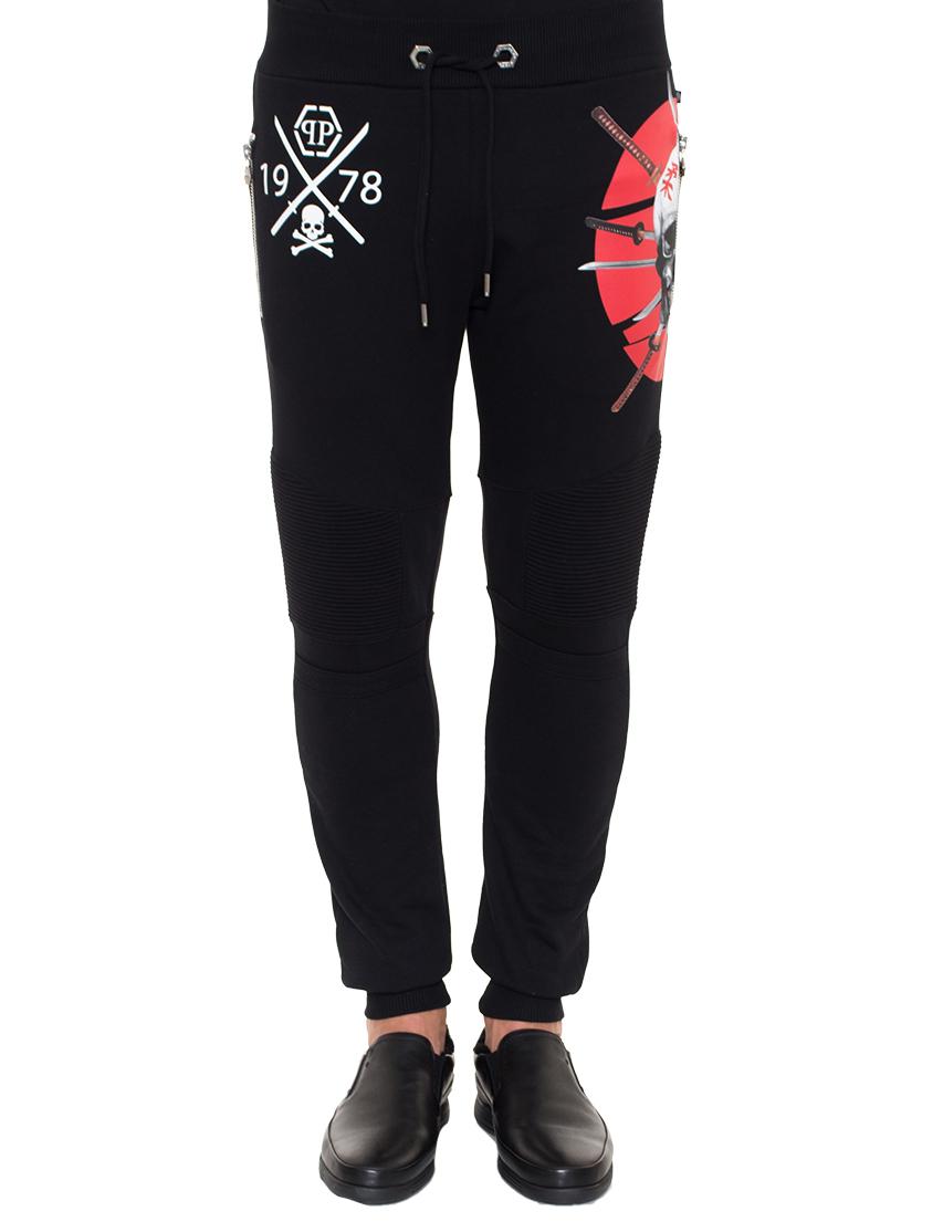 Спортивные брюки, PHILIPP PLEIN, Черный, 100%Хлопок, Осень-Зима  - купить со скидкой