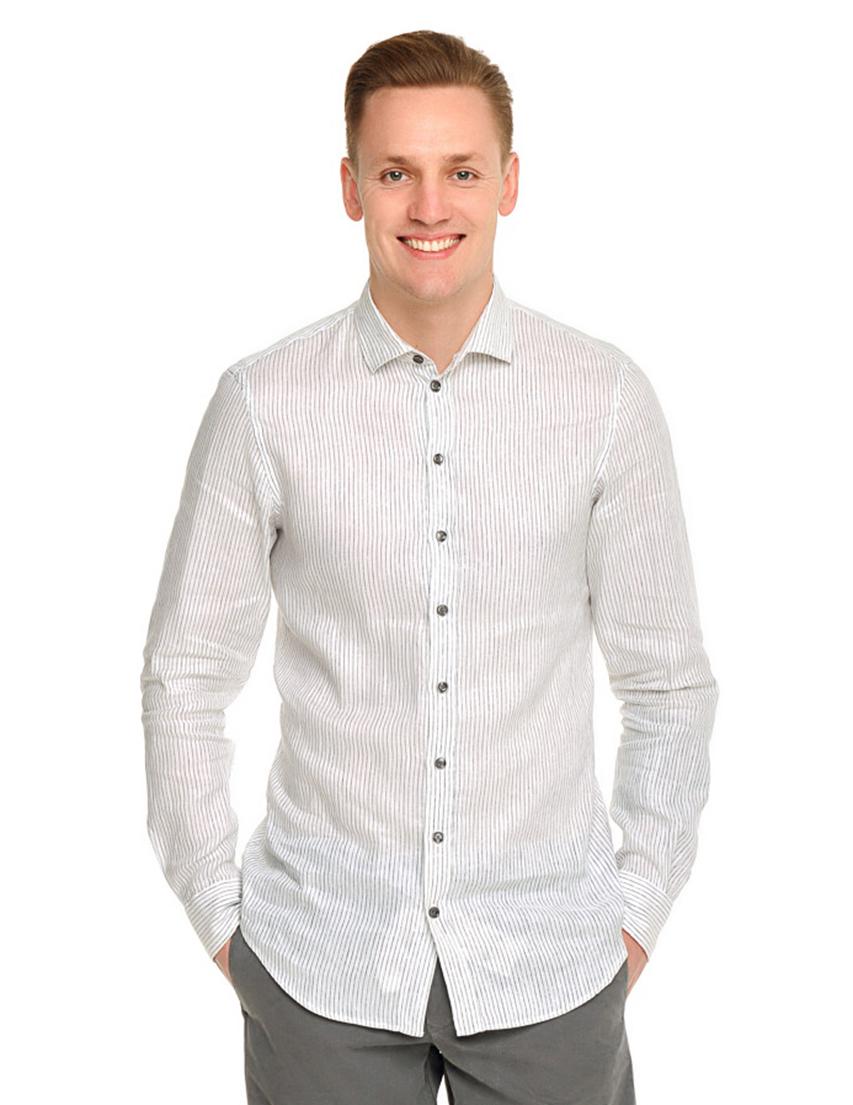 Купить Рубашка, ARMANI COLLEZIONI, Белый, 66%Лен 34%Хлопок, Весна-Лето
