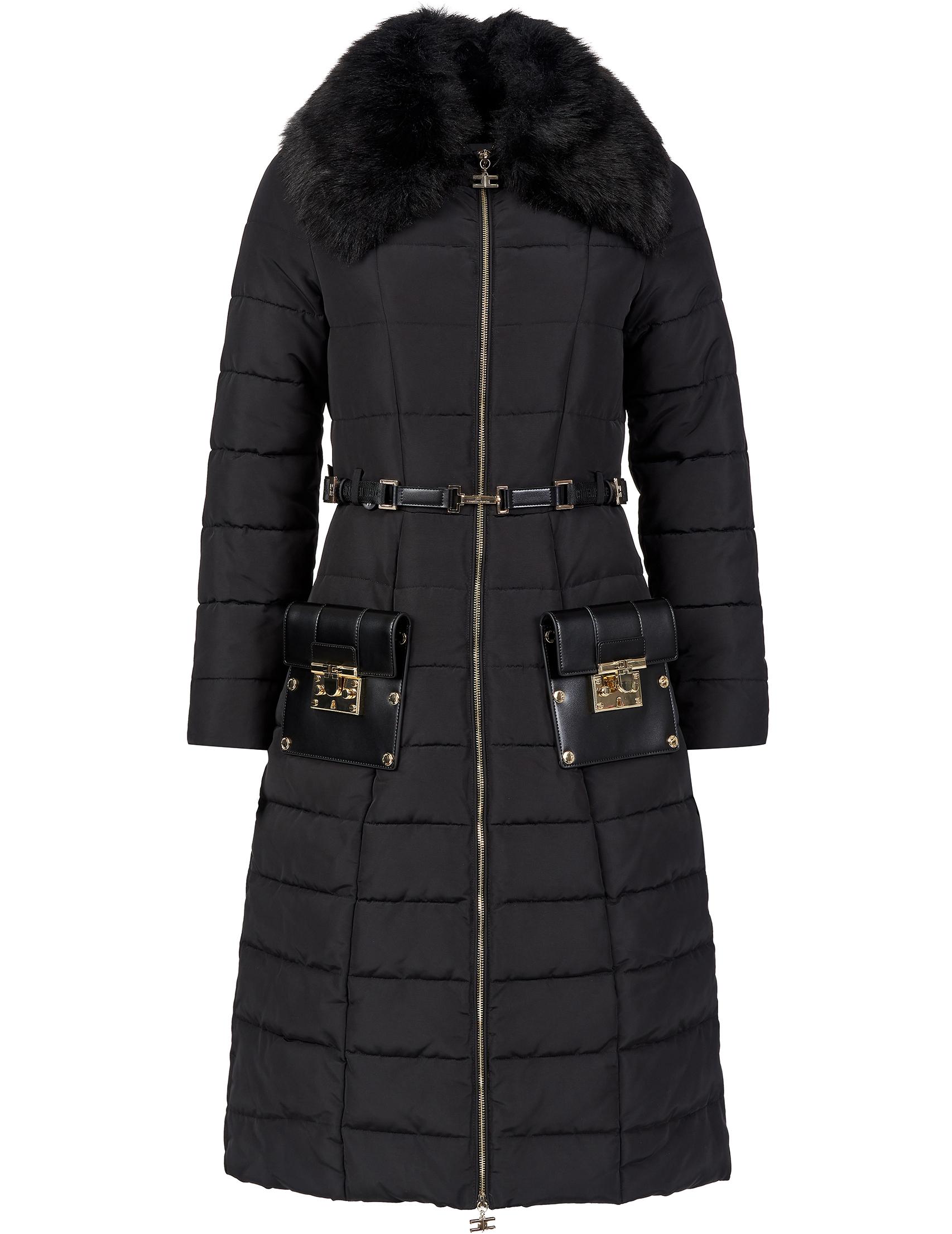 Купить Пальто, ELISABETTA FRANCHI, Черный, 100%Полиэстер, Осень-Зима