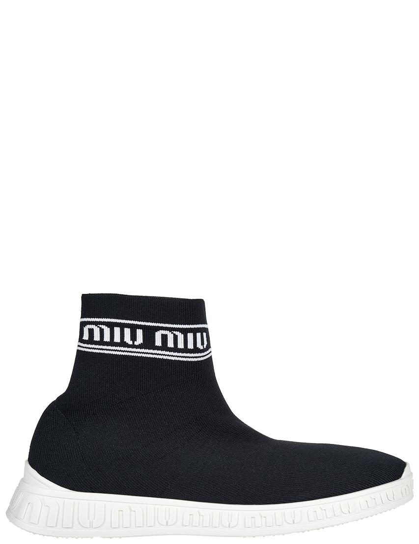 Текстильные чёрные кроссовки MIU MIU (ITALY)