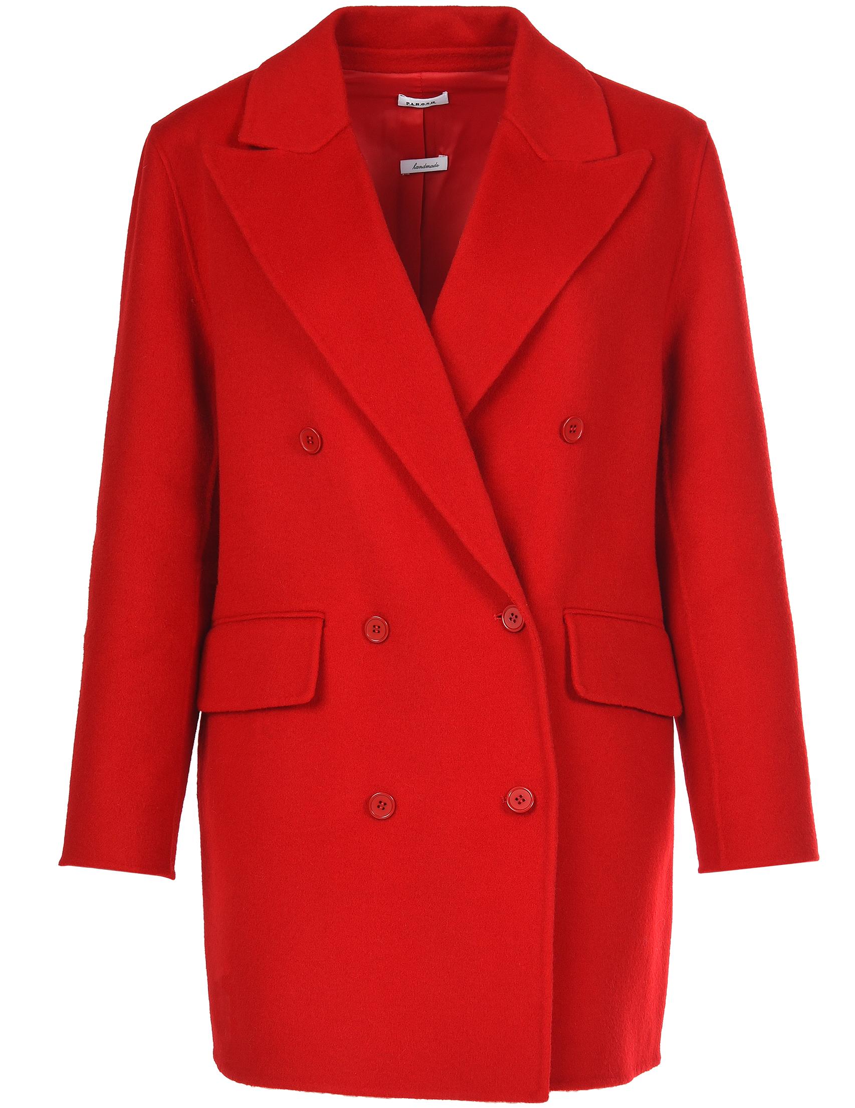 Купить Пальто, P.A.R.O.S.H., Красный, 100%Шерсть;100%Полиэстер, Осень-Зима