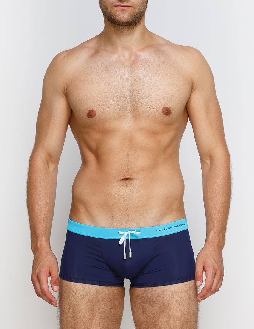 Мужские плавки пляжные GARCON FRANCAIS Boxer-de-Bain17-Marine-Turquoise_blue