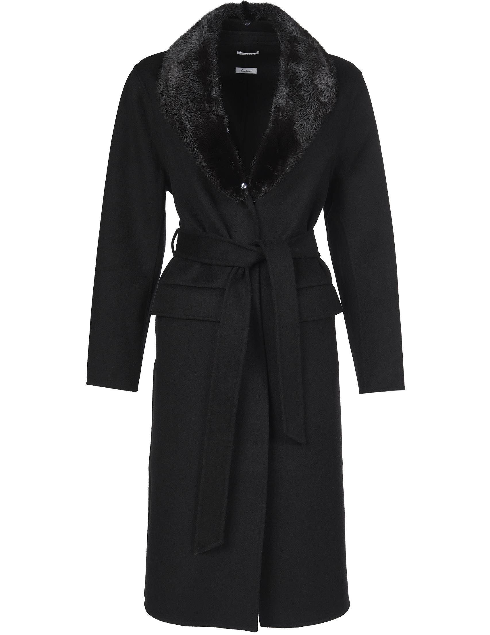 Купить Пальто, P.A.R.O.S.H., Черный, 100%Шерсть;100%Норка, Осень-Зима