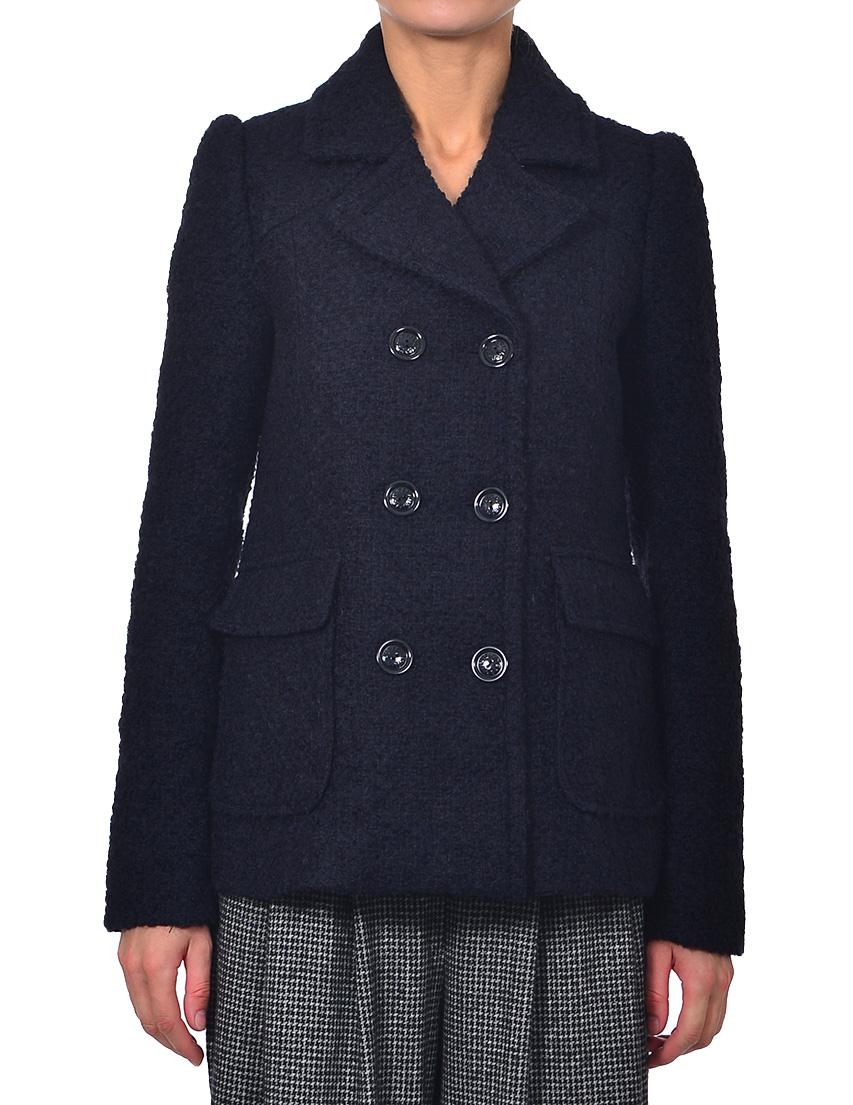 Купить Пальто, PATRIZIA PEPE, Синий, 45%Акрил 15%Альпака 20%Лана 20%Полиэстер, Осень-Зима