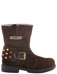 Детские сапоги для девочек MOSCHINO 25388dark-brown