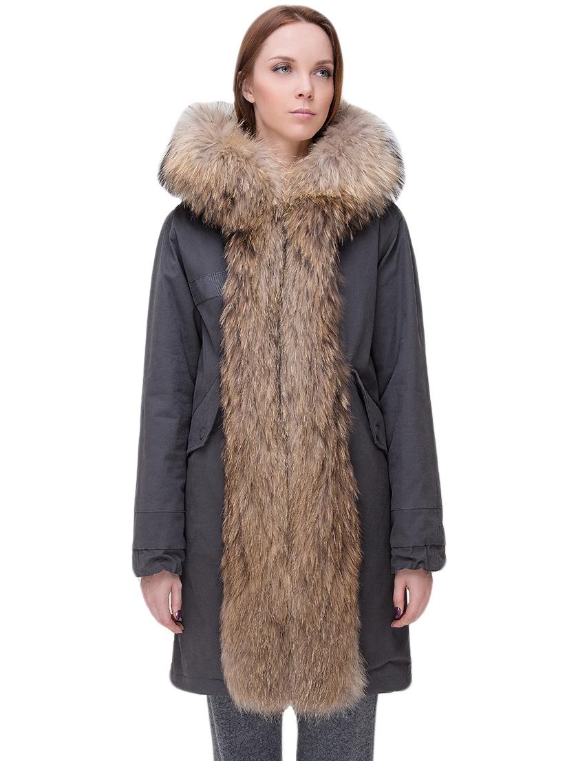 Купить Куртка, TSAREVNA, Серый, 98%Хлопок 2%Другие волокна; подкладка - мех лисы, подкладка рукавов - 100%Полиамид, отделка - мех енота; мех кролика, Осень-Зима
