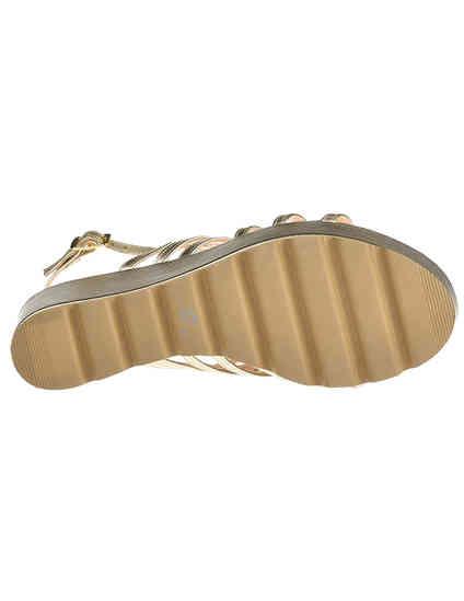 женские золотые текстильные Босоножки Albano 7426_gold - фото-5