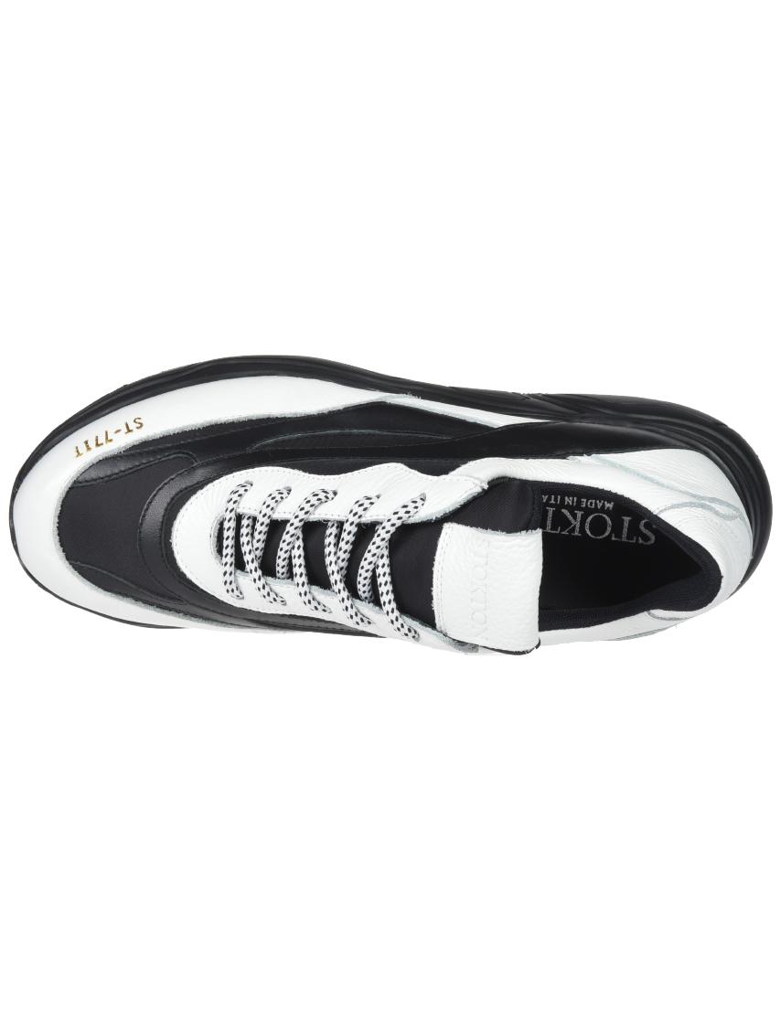 Кожаные чёрно-белые кроссовки STOKTON (ITALY)