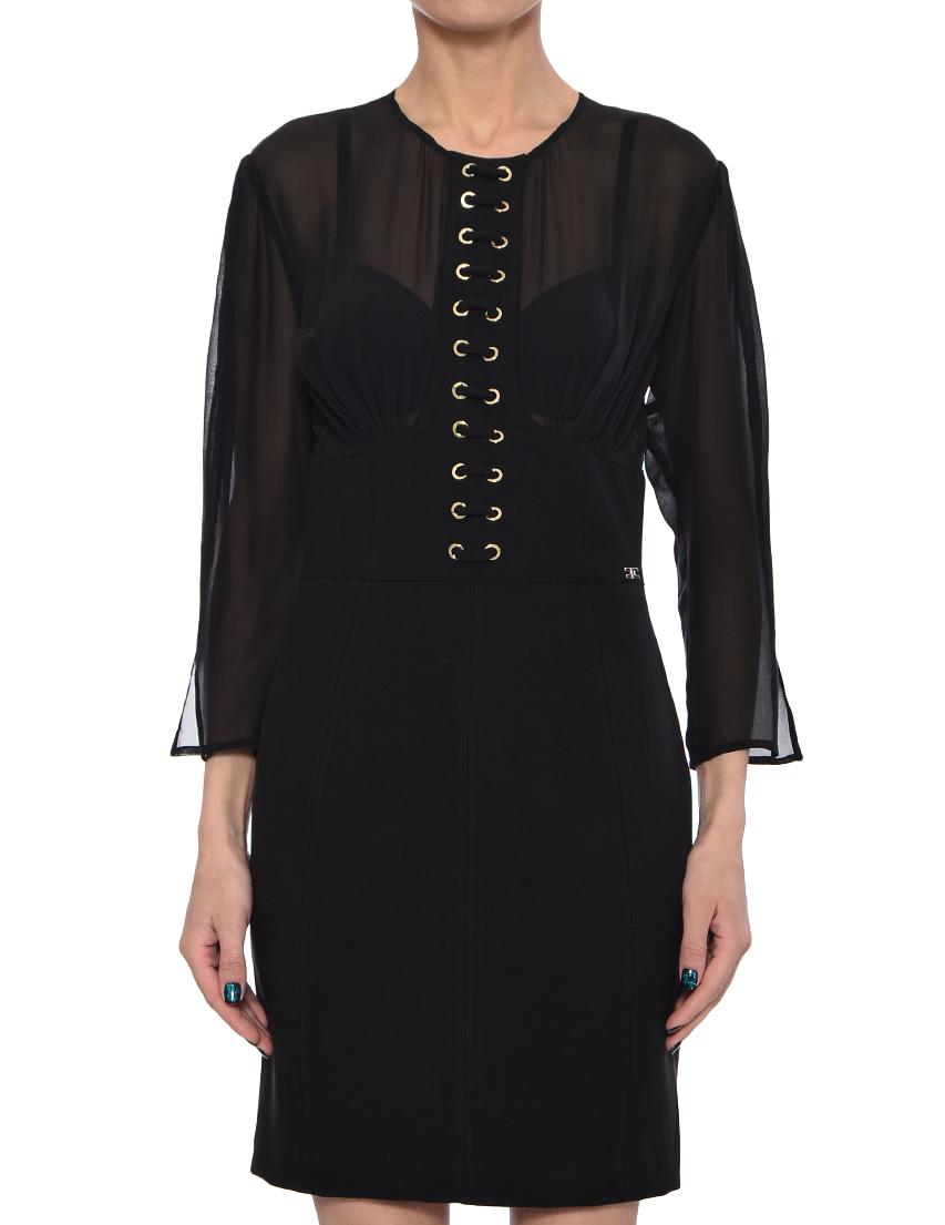 Платье, ELISABETTA FRANCHI, Черный, 68%Модал 21%Полиамид 11%Эластан, Весна-Лето  - купить со скидкой