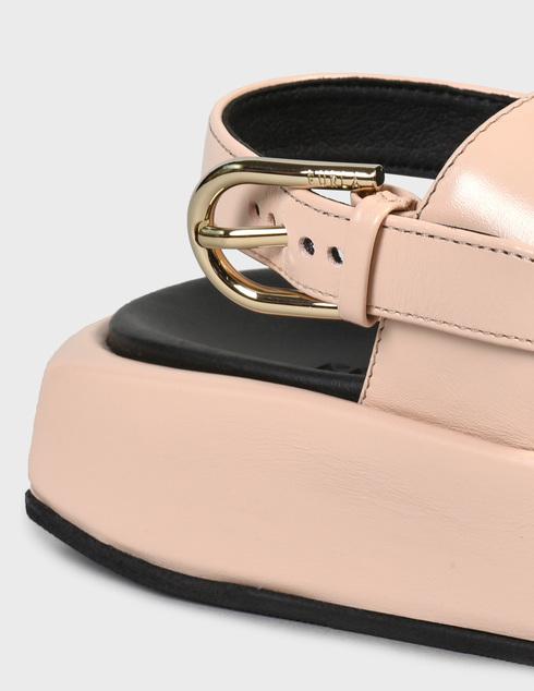женские бежевые кожаные Босоножки Furla YE10REAW36000_B4L00 - фото-5
